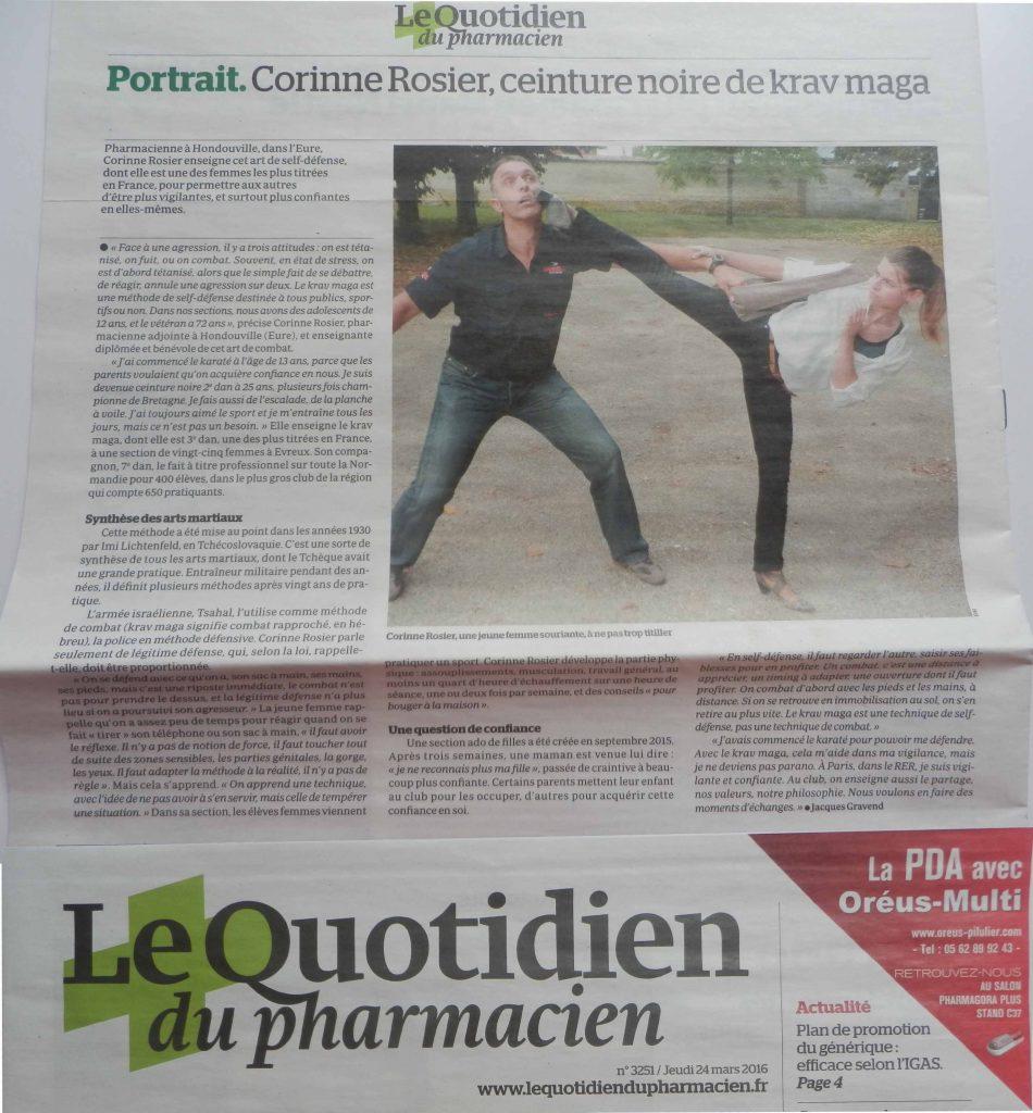 Article sur Corinne Rosier dans le Quotidien du Pharmacien à propos de sa pratique martiale et du krav maga