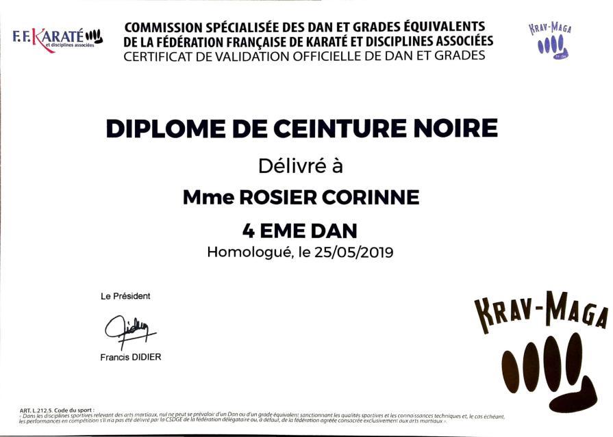 Diplome Rosier 4ème dan de krav maga FFK